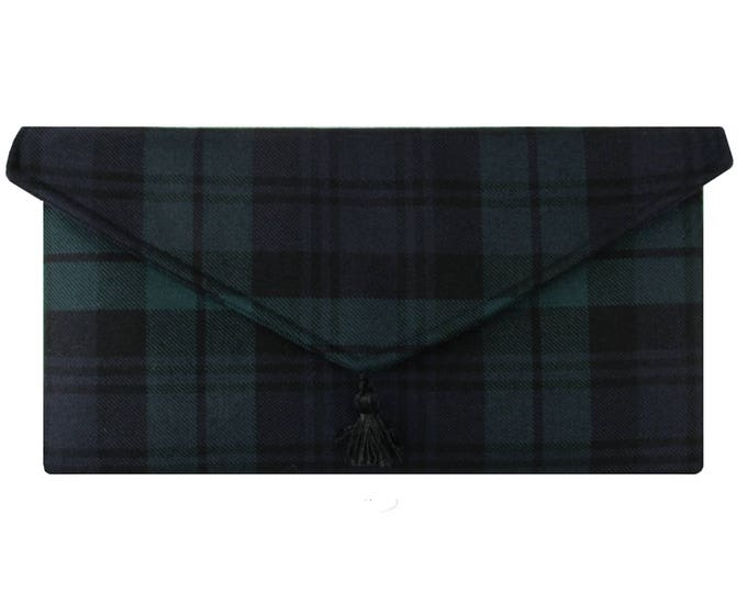 Black Watch Pure Wool Tartan Envelope Clutch Bag
