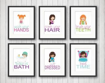 Girls Bathroom Decor, Girls Bathroom Art, Bathroom Rules, Girls Bathroom Art Prints