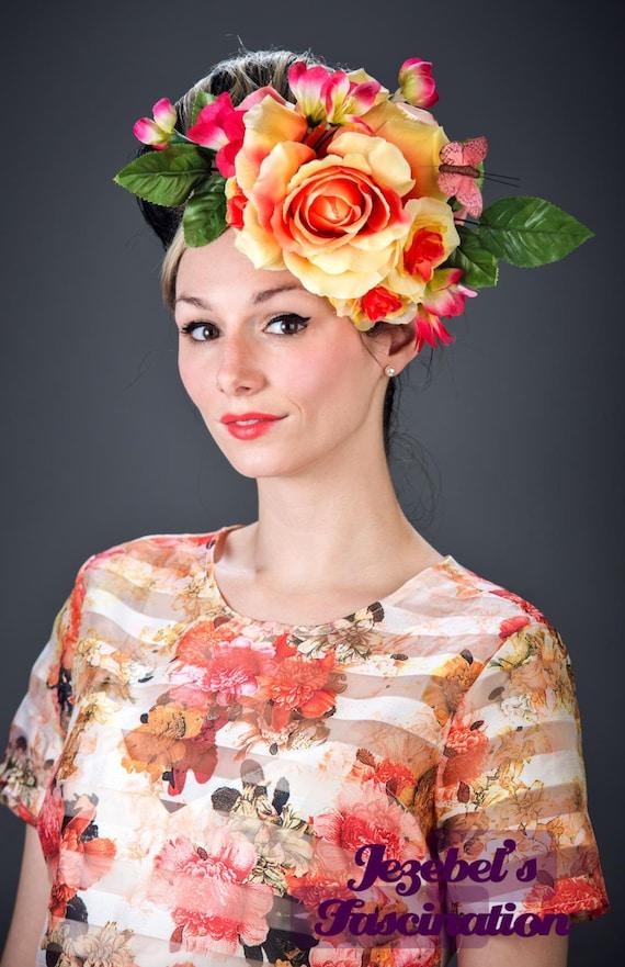 Large Yellow Hair Flower Carnevale Easter Hat Rose Fascinator