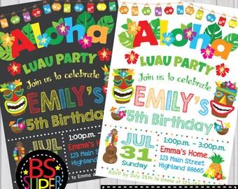 Luau invitation, Hawaiian invitation, Luau birthday party, Aloha party invite