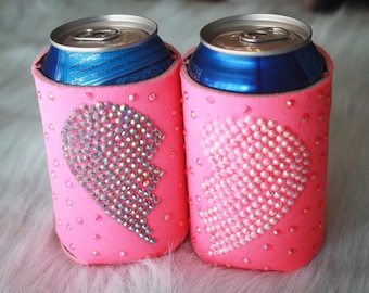 BFF Heart Bling Beer Can Cooler Pair // Bestie Heart Bling Can Huggers // Best Friend Bedazzled Beer Cozy Set