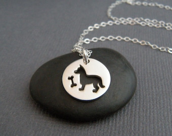 small dog with bone necklace. sterling silver pet pride pendant. cut out. animal lover love charm simple dog owner gift. jewelry 1/2""