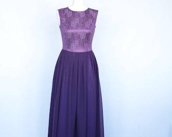 Long purple bridesmaid dress Purple lace dress Long purple dress purple bridesmaid dress Lace and chiffon bridesmaid dress purple maxi dress