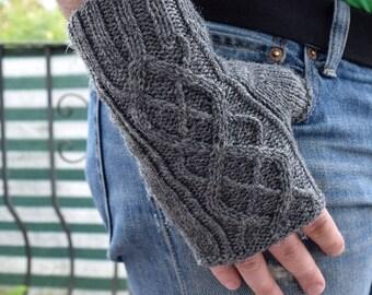 Mens fingerless gloves Hand knitted mitts  Gray handwarmers Mens fingerless gloves Wool fingerless mitts Gift for men