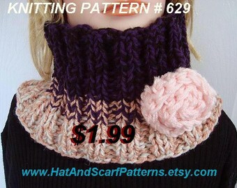 scarf KNITTING PATTERN, cowl, one size fits most, 3 tone knitted cowl, beginner level Pattern # 629, Knit flower pattern included