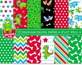 Dinosaur digital papers,Cute dinosaur papers,Dinosaur patterns,Dinosaur scrapbook papers,T-rex,Pterodactyl,Triceratops,Commercial Use