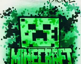 Airbrush Minecraft T shirt, Airbrush Minecraft Creeper