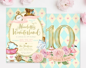 Alice In Wonderland Girl's Birthday Party Invitation, Alice in Wonderland Invitation - Any Age Girl Birthday Invite - Printed Or Digital