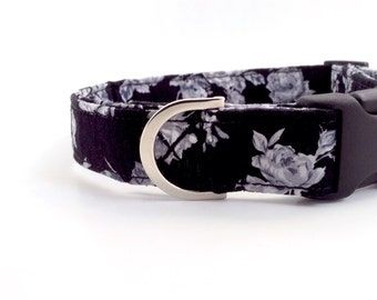 Black Roses Dog Collar | Dog Collar | Girl Dog Collar | Puppy Collar | Floral Dog Collar | Small Dog Collar | Large Dog Collar | Custom