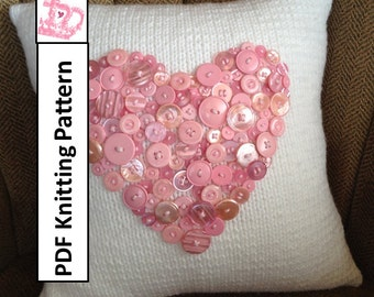 PDF KNITTING PATTERN - As Cute as a Button Heart motif 14x14 pillow cover