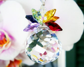 Swarovski Crystal Suncatcher, Chakra Hanging Crystals, Rainbow Prism Sun Catcher, Feng Shui Decor