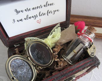 Cheer up gift, cheer up box, you are not alone, i am always here for you, message in a bottle, you are brave, engraved locket