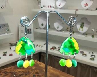 Ceramic pendants and earrings in enamels on copper, green, yellow