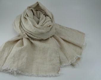 Handmade Linen Scarf --- Oatmeal Beige