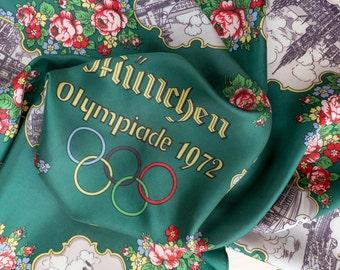 "Vintage square scarf Olympic games Munich München 1972 women neckerchief green 33"""