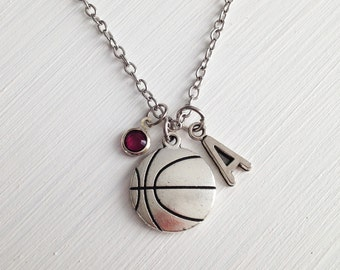Basketball necklace - silver basketball charm - sport necklace - personalized necklace - basketball fan - bff necklace - friendship