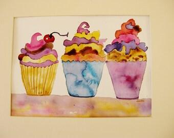 Cupcake watercolor painting, original cupcake watercolor painting, kitchen art, kitchen painting, girl room art, children room art