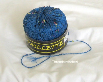 Paillette 6, Knitting Fever, royal blue, multi sequins, novelty yarn, destash