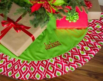 SALE Red Ikat Monogrammed Christmas Tree Skirt - Christmas Tree Skirt Personalized -  Personalized Tree Skirt Monogrammed