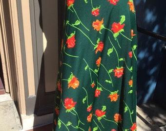 Emerald Green Tangerine Rosebud Maxi Skirt