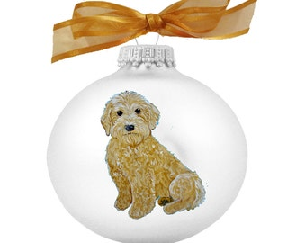 goldendoodle labradoodle puppy dog hand painted christmas ornament can be personalized with name - Goldendoodle Christmas Ornament