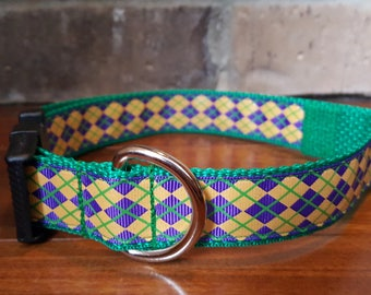 Mardi Gras Purple Green and Gold Argyle Print Dog Collar Large