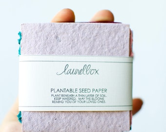 Plantable Seed Paper, Sympathy Gift, Memorial Gift, In Loving Memory, Loss of a loved one, remembrance, miscarriage, plant