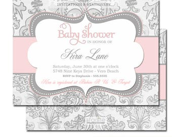 Pink and Grey Baby Shower Invitations, Pink and Gray Baby Shower Invites, Pink and Grey Baby Shower Invitation Girl, Printed Invitations