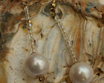 PEARL CRYSTAL EARRINGS....Swarovski Crystal And Pearl Drop Earrings