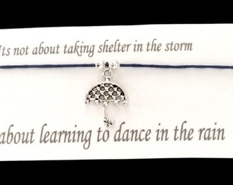 Learning to dance in the rain bracelet on waxed cotton cord OR Silver Plated Key Ring OR Silver Plated Necklace OR Black Veelveteen Choker