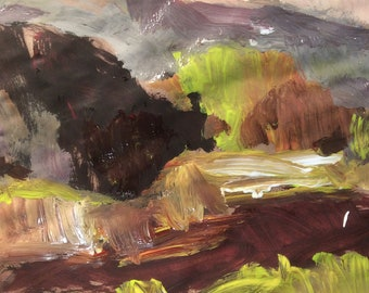 Paysage art expressionniste originale peinture, Berkshire Hills, Russ Potak