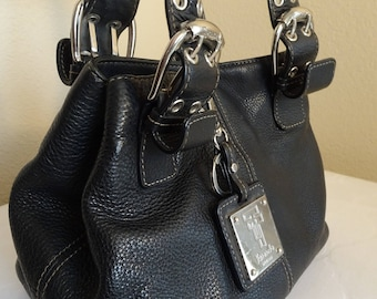 BEAUTIFUL Black Leather Handbag Made By 'Tignanello' - VERY Cute!!