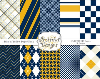 Digital Paper pack Sports Team Color Blue and Yellow