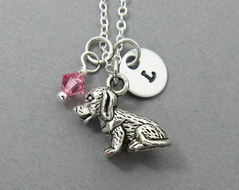 Puppy Dog Necklace - Personalized Handstamp Initial Name, Customized Swarovski crystal birthstone