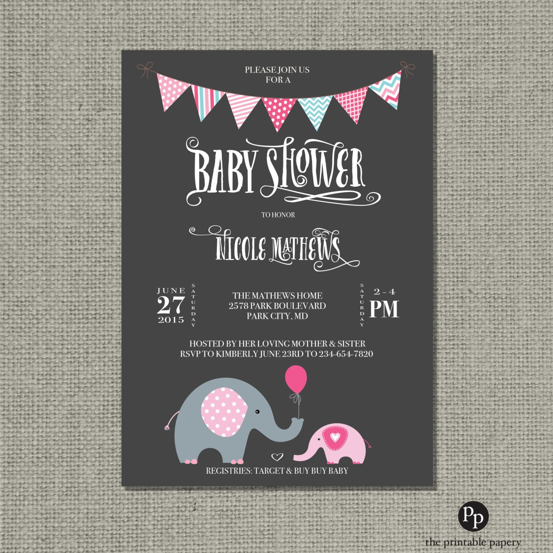 Printable Baby Shower Invitation Card | Elephants Balloon Design ...