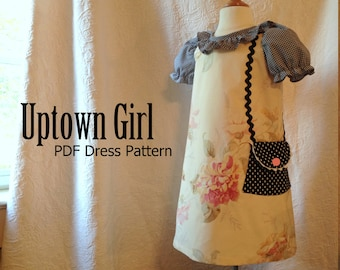Uptown Girl - Girl's A-Line Dress PDF Sewing Pattern. Sewing Pattern for Girls.  Sizes 1-10 included