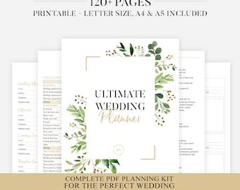 Printable Wedding Planner | Greenery Wedding Organizer | DIY Printable Planner | Wedding Planner PDF | Wedding Ebook | PDF Wedding Inserts