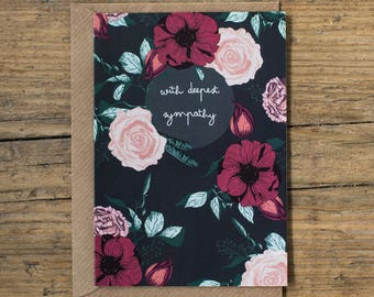 With Deepest Sympathy Botanical Floral I'm so sorry Sympathy Greetings Card