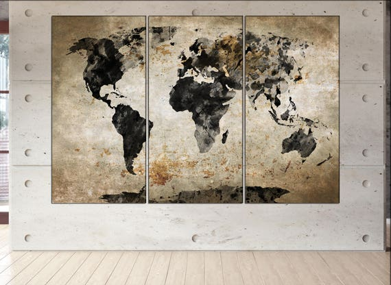 World map black white canvas wall art  print world map large canvas wall art  print World map black white wall decor