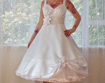 1950s 'Juliet' Rockabilly Wedding Dress, Organza Petticoat, Satin Flowers and Tea Length Skirt - custom made to fit