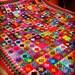 "Mini Bijou Granny Squares Blanket Afghan  70"" x 60"" 320 squares VIBRANT"