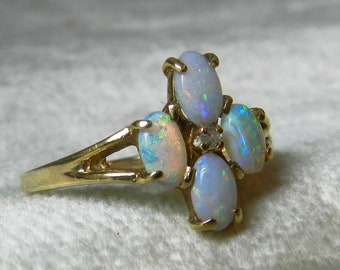Opal Ring 14K Diamond Australian Opal Ring Forget Me Not Promise Ring Opal Vintage Engagement Ring October Birthday Gifts