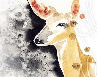 """Martinefa's Original watercolor and Ink """"Biche"""""""