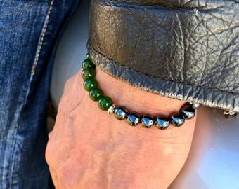 Men's Fortune Bracelet | Mala Bracelet | Mala Beads | Wrist Mala | Jade | Hematite | Luxury Natural Gemstones | Wealth | Dissolves Doubt