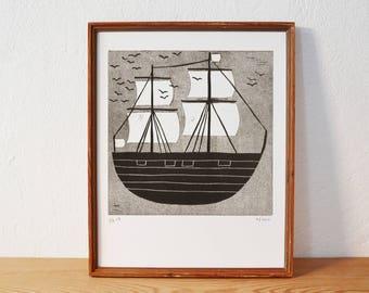 bateau 4 · original linogravure · Édition limitée · DIN A4