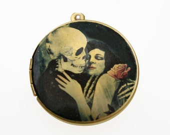 Photo Locket, Image Locket, Art Locket, Picture Locket, Brass Locket - Skeleton Love
