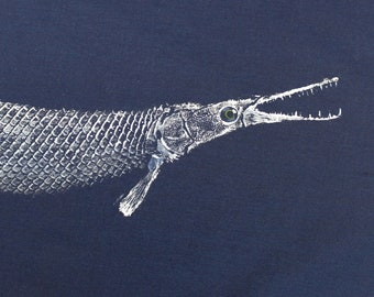 ORIGINAL Alligator Gar GYOTAKU Fish Rubbing Art Lake House Decor on Best premium 31X21 Navy cloth