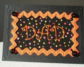 Fibre Art Greeting Card, Embroidered Dad Card