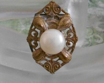1930's Brass Faux Pearl Dress Clip