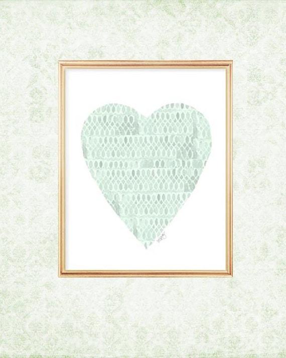 Mint Baby Nursery Heart Print, 8x10